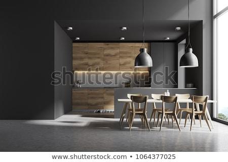 Fehér szürke konyha szoba modern készülékek Stock fotó © iriana88w