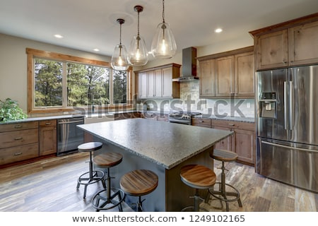 Open large kitchen interior with vaulted ceiling and white appliances. Stock photo © iriana88w