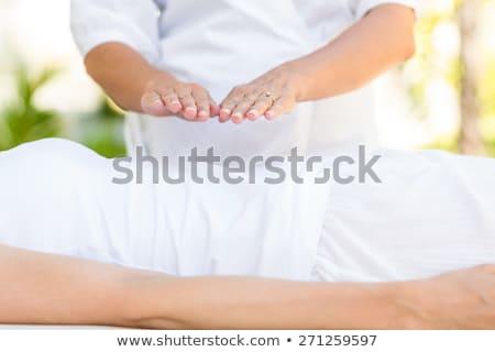 felice · donna · testa · massaggio · bambù · ragazza - foto d'archivio © andreypopov