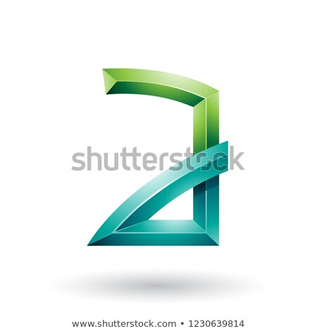 Light and Dark Green Embossed Letter A with Bended Joints Vector Stock photo © cidepix