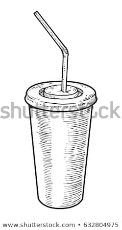Soft Drink and Coffee Cup Monochrome Sketches Stock photo © robuart