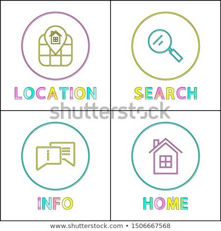 object location information retrieval icons set stock photo © robuart