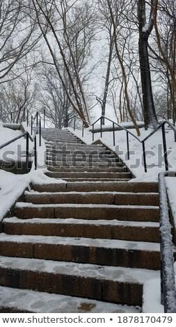 Invierno escaleras cielo nieve cubierto religión Foto stock © romvo