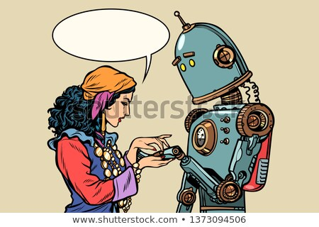 Gypsy fortune teller and robot. Palmistry Stock photo © studiostoks