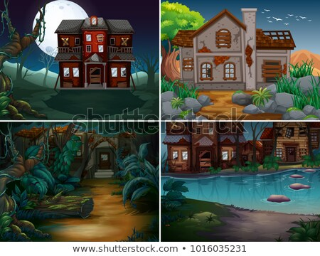Four scenes with ruined and haunted houses Stock photo © colematt
