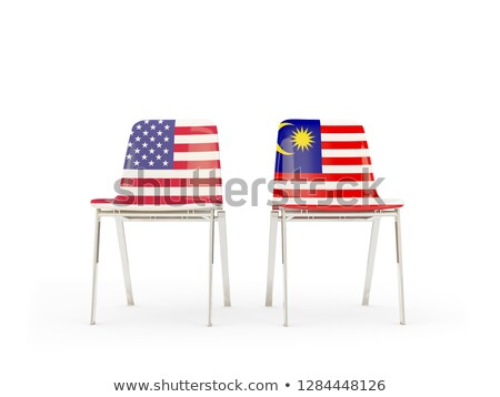 Two chairs with flags of US and malaysia isolated on white Stock photo © MikhailMishchenko