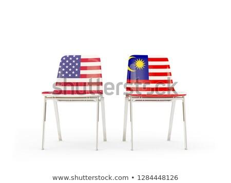 Iki sandalye bayraklar Malezya yalıtılmış beyaz Stok fotoğraf © MikhailMishchenko