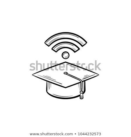 Graduation cap with network wifi sign sketch icon stock photo © RAStudio