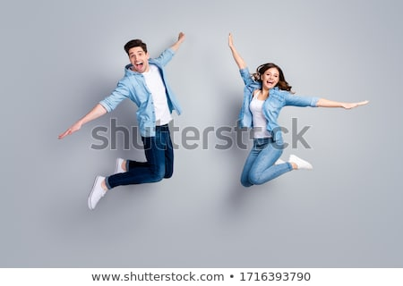 Stockfoto: Trampoline · gelukkig · meisje · springen · kind · ruimte