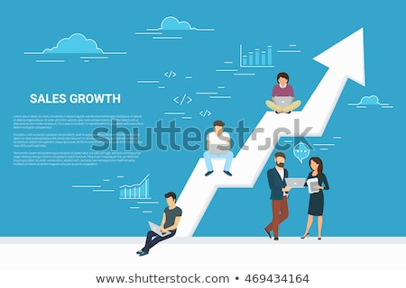 Business team with laptops sitting on big growth arrow vector illustration. Stock photo © RAStudio