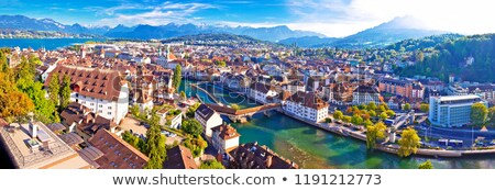 City and lake of Luzern panoramic aerial view Stock photo © xbrchx
