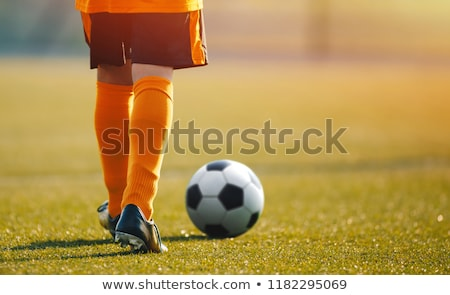 Soccer training session. Single youth soccer player on the pitch Stock photo © matimix