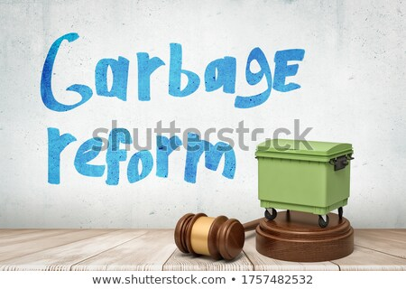 Wooden trashcan with lid Stock photo © colematt