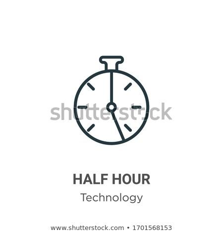 Stock foto: Hälfte · Uhr · Kreis · linear · Symbol · isoliert