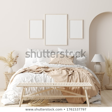 White and beige bedroom in boho style  Stock photo © dashapetrenko