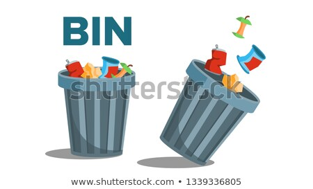 Bin Garbage Vector. Full Of Trash. Inverted. Isolated Flat Illustration Stock photo © pikepicture
