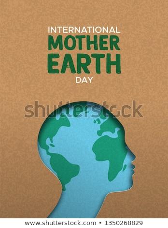 Mãe dia da terra cartaz papel cortar mulher Foto stock © cienpies