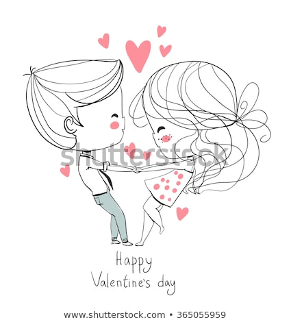 couple in love boy and girl vector illustration stock photo © robuart