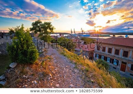 крана · закат · силуэта · завода · назад · небе - Сток-фото © xbrchx