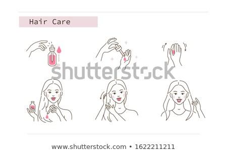 Gyönyörű nő fürdőszoba elvesz törődés haj olaj Stock fotó © deandrobot