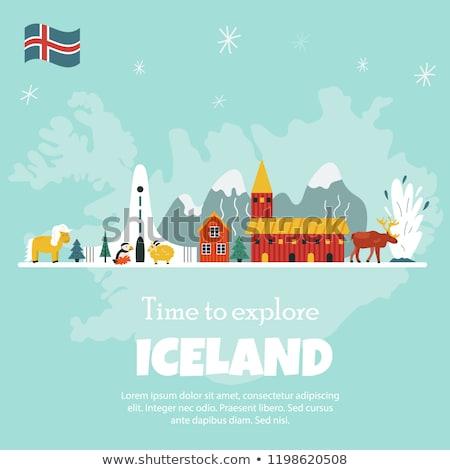 Islândia natureza vetor símbolo veado texto Foto stock © Giraffarte