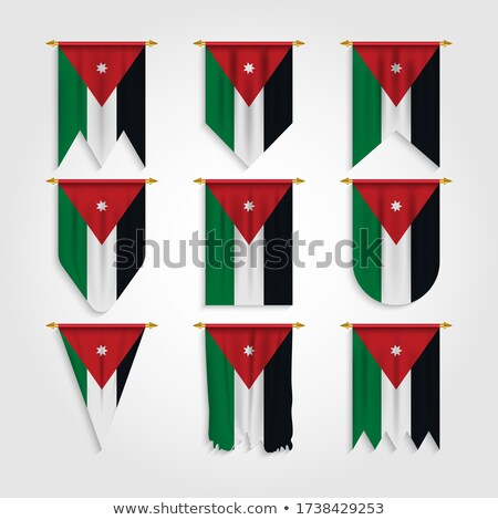 Jordan Various Shapes Vector National Flags Set Stok fotoğraf © pikepicture