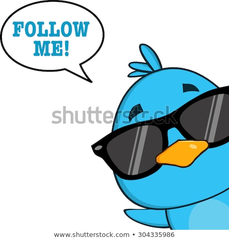 Cute Blue Bird With Sunglasses Cartoon Character Looking From A Corner With Speech Bubble And Text Stock photo © hittoon