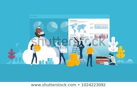 üzletember · siker · dolgozik · laptop · pop · art · retró · stílus - stock fotó © decorwithme