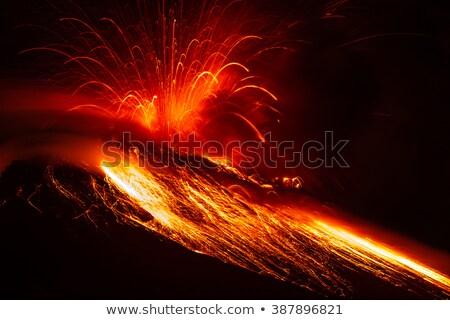 Vulkán kitörés éjszakai jelenet illusztráció víz fa Stock fotó © bluering