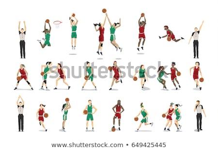 Női kosárlabdázó karakter illusztráció mosoly sport Stock fotó © colematt