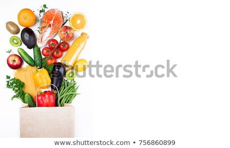 Set of food on white background Stock photo © colematt