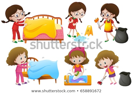 Girls doing different chores on white background Stock photo © colematt