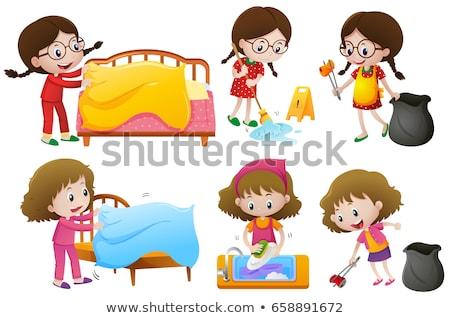 Girls doing different chores on white background stock photo © colematt