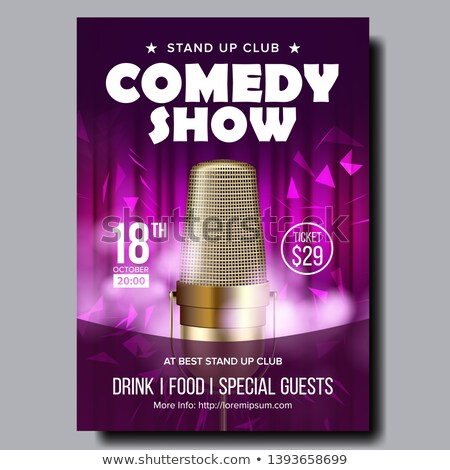 bright banner of evening comedy live show vector stock photo © pikepicture