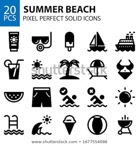 Nyár utazás szilárd webes ikonok vektor szett Stock fotó © Anna_leni