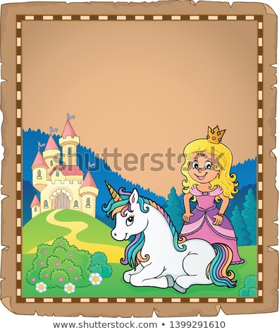 Foto stock: Princesa · pergamino · papel · nina · arte · castillo