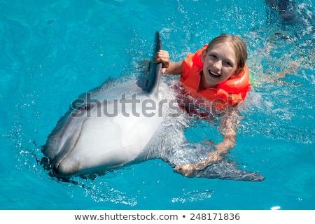 Meisje dolfijn afbeelding gelukkig natuur kind Stockfoto © clairev