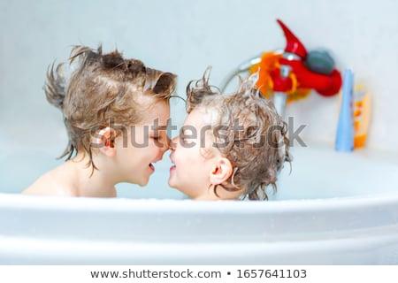 aanbiddelijk · baby · jongen · bad · zeep - stockfoto © lopolo