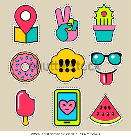 Pop art fashion chic patches, pins, badges and stickers Stock photo © marish