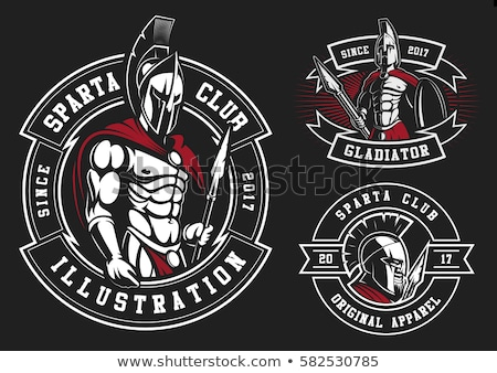 Spartan Helmet logo set, Greek warrior. Spartan warrior Helmet Stock photo © Andrei_