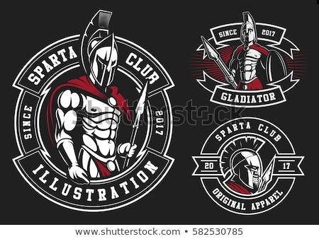 Spartanin kask logo zestaw grecki wojownika Zdjęcia stock © Andrei_