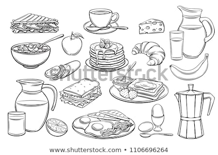 Foto stock: Croissant Food Snack Monochrome Sketch Vector