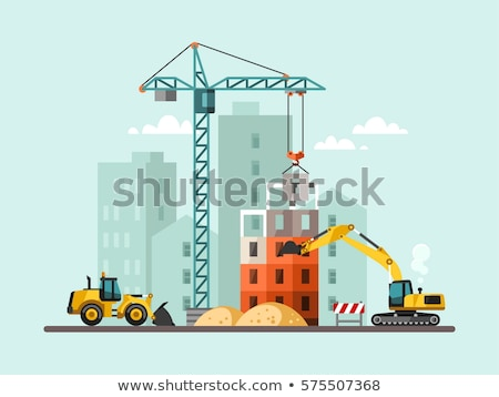 Crane and Bulldozer with Building in Process Stock photo © robuart