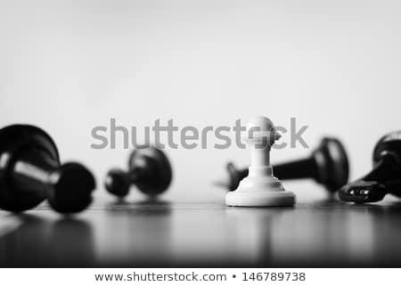 blanco · peón · negro · piezas · de · ajedrez · tablero · de · ajedrez · atención · selectiva - foto stock © freedomz