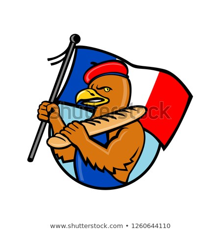 French Eagle Holding Flag and Baguette Cartoon Stock photo © patrimonio