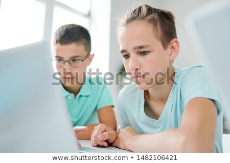 Zwei schlau Sitzung Schreibtisch Laptop Display Stock foto © pressmaster
