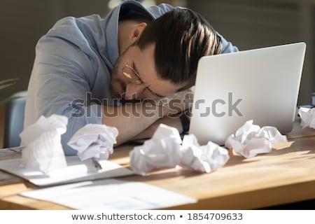 üzletember alszik iroda papírmunka fiatal asztal Stock fotó © ra2studio
