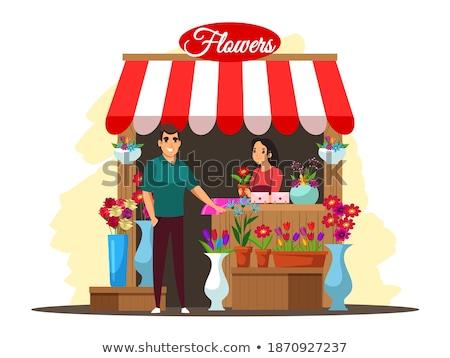 Nő elad virágok utca vektor növények Stock fotó © robuart