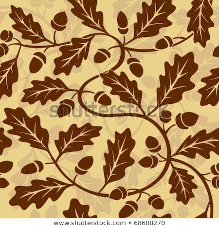 ストックフォト: パターン · オレンジ · オーク · 葉 · 水彩画 · 秋