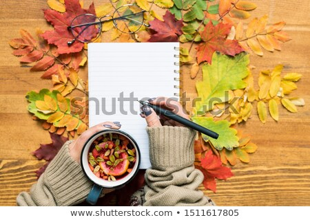 Overview of student hands holding hot herbal tea and pen over open copybook Stock photo © pressmaster